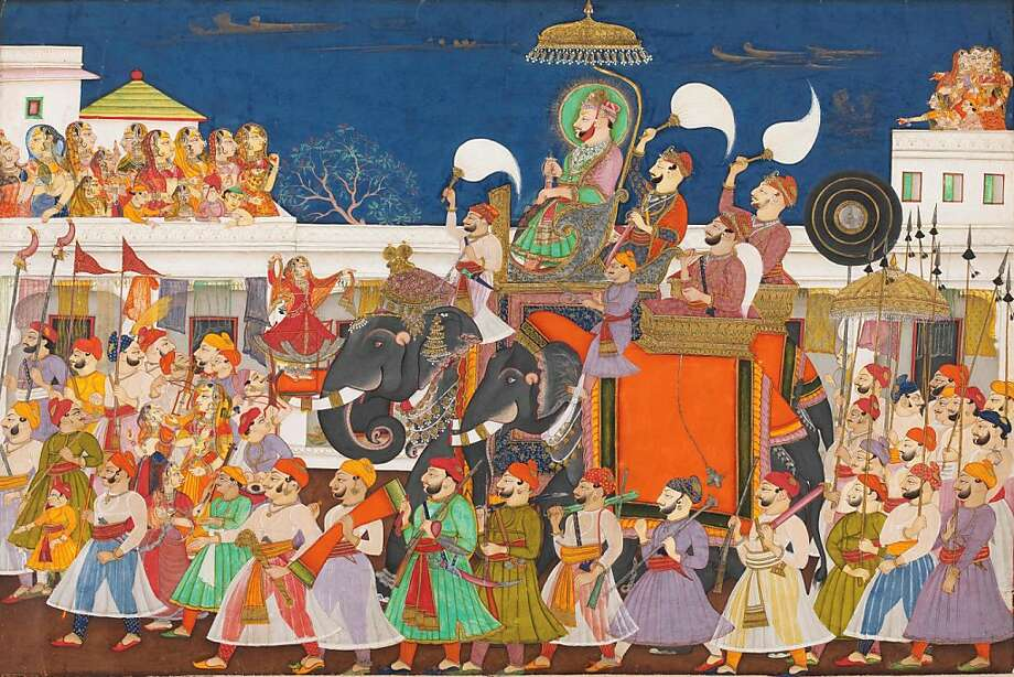 """""""Procession of Ram Sing II of Kota and His Son at Kota,"""" (c. 1850) Opaque watercolor on paper by unidentified artist Photo: Unknown, Victoria & Albert Museum, London"""