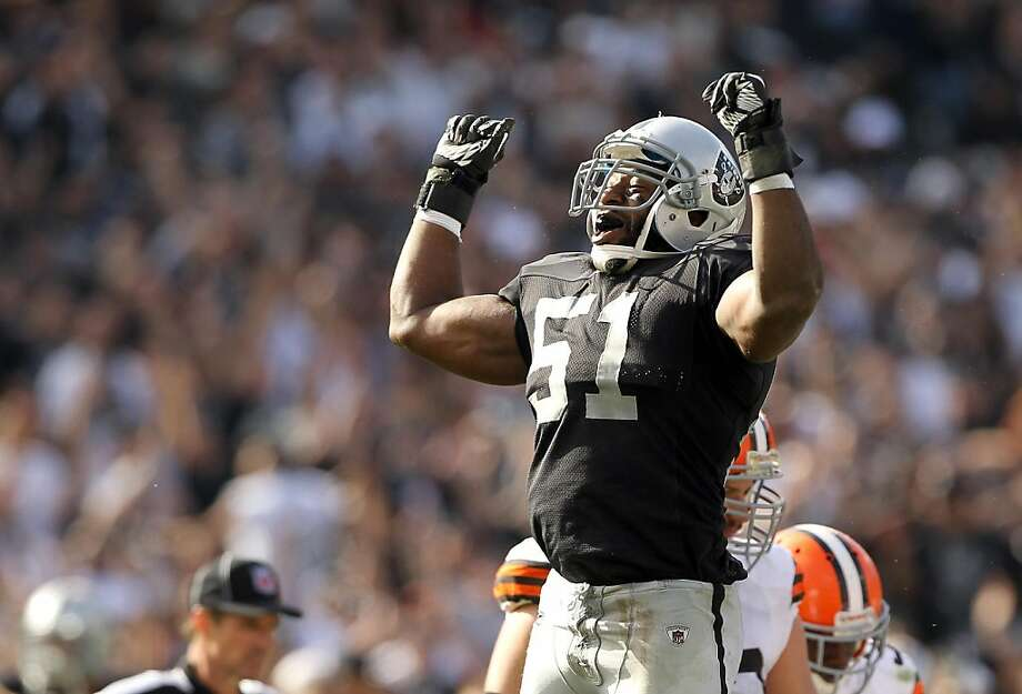 OAKLAND, CA - OCTOBER 16:  Aaron Curry #51 of the Oakland Raiders celebrates after the Raiders recovered a fumble by the Cleveland Browns at O.co Coliseum on October 16, 2011 in Oakland, California.  (Photo by Ezra Shaw/Getty Images) Photo: Ezra Shaw, Getty Images