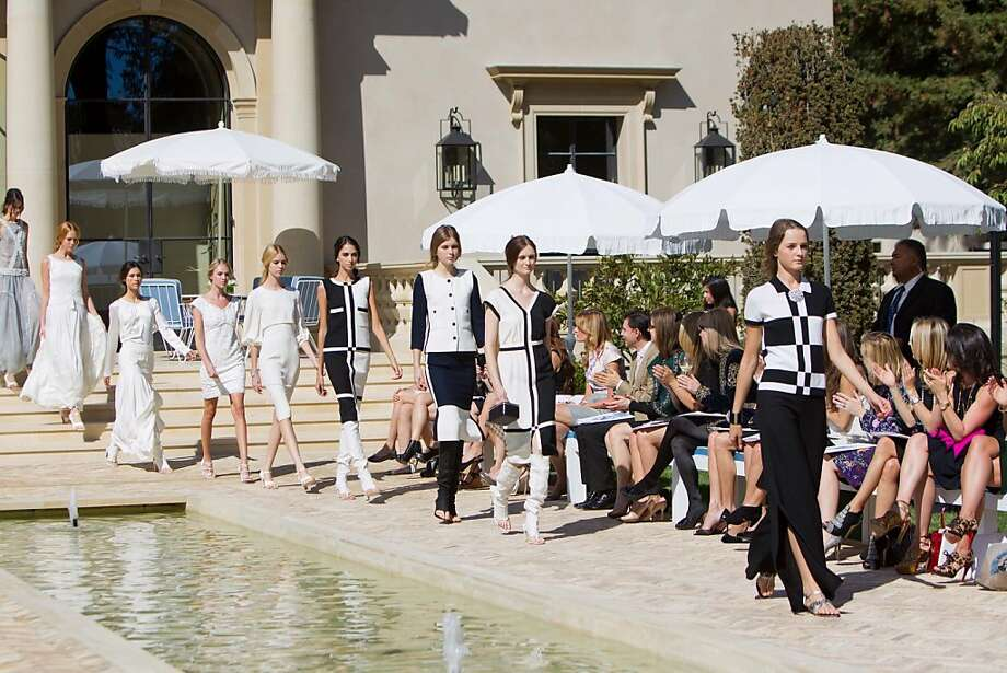 Chanel hosted a fashion show to introduce its cruise collection for 2011/12 to Bay Area fashionistas. The event was held at the Atherton home of Bita Daryabari, and was co-hosted by Vanessa Getty, Sloan Barnett and Juliet de Baubigny. Taste Catering served a Cobb salad with lobster tail to 110 guests. The event was held on Oct. 19, 2011. Here, we see resort wear on a model. Photo: Drew Altizer