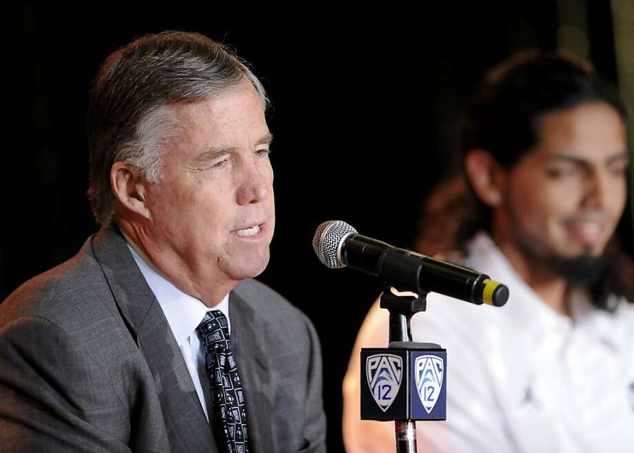 California head coach Mike Montgomery takes questions during the PAC-12 Conference NCAA college basketball media day on Friday, Oct. 28, 2011, in Los Angeles. (AP Photo/Gus Ruelas) Photo: Gus Ruelas, AP