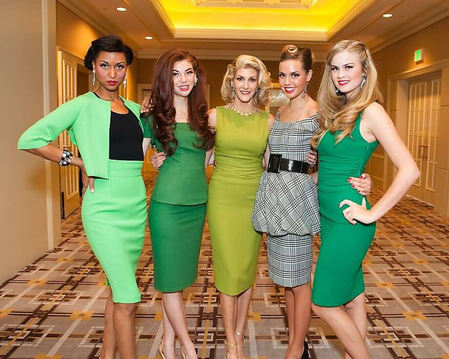 Designer Karen Caldwell (middle) with models at the the Bay Area Arthritis Auxiliary Fashion Show featuring Caldwell's designs on Oct. 5 at the Four Seasons in San Francisco. Photo: Moanalani Jeffrey, Special To The Chronicle