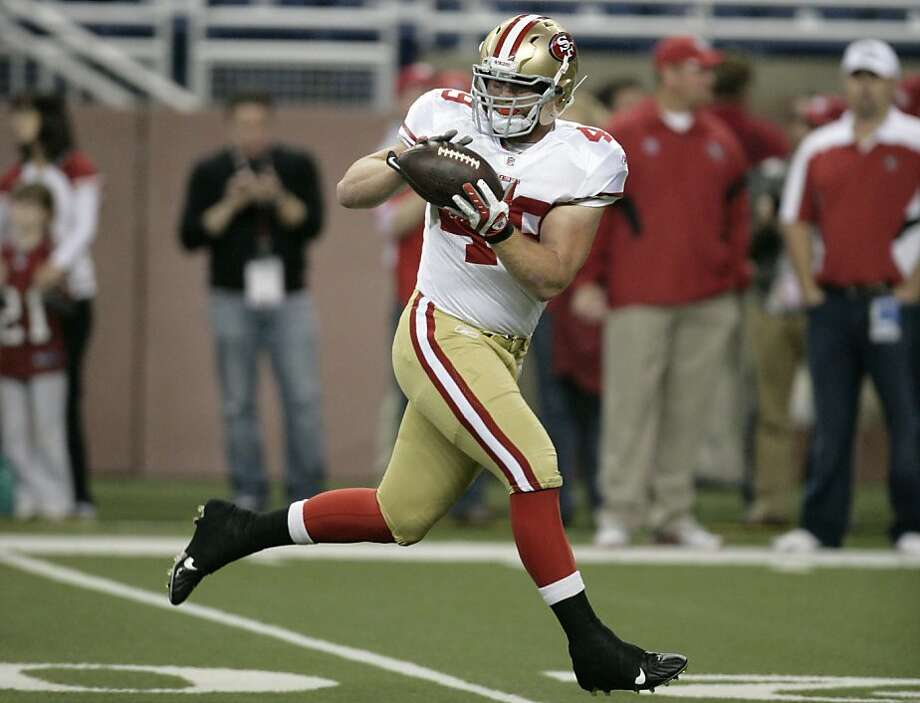 San Francisco 49ers' fullback Bruce Miller (49) catches a pass during pregame warmups of an NFL football game against the Detroit Lions Sunday, Oct. 16, 2011 in Detroit. (AP Photo/Duane Burleson)  Ran on: 10-25-2011 Converted defensive end Bruce Miller has continued the big hits as a fullback. Photo: Duane Burleson, AP