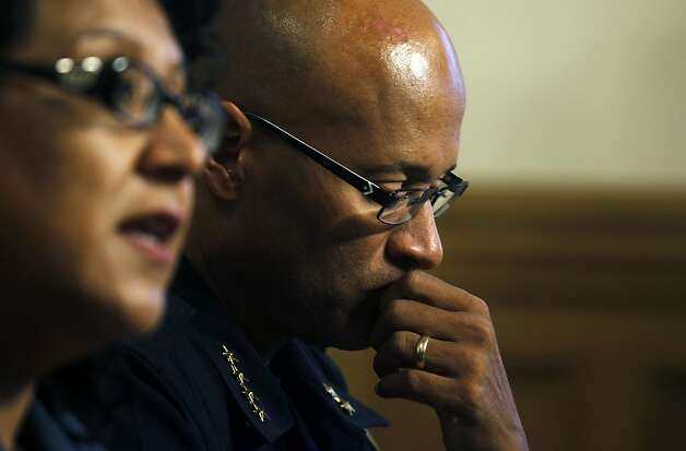 Oakland City Administrator Deanna Santana, left speaks beside Interim Chief of Oakland Police Howard Jordan during a media conference Tuesday, Oct. 25, 2011, in Oakland, Calif. Occupy Oakland protestors were evicted from Frank H. Ogawa plaza early this morning. Photo: Lance Iversen, The Chronicle