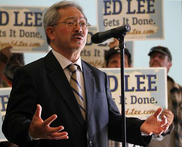 Interim San Francisco Mayor and mayoral candidate Ed Lee speaks during a news conference where he was  endorsed by Lt. Governor Gavin Newsom on Monday, Oct. 24, 2001, in San Francisco, Calif. Photo: Mathew Sumner, Special To The Chronicle
