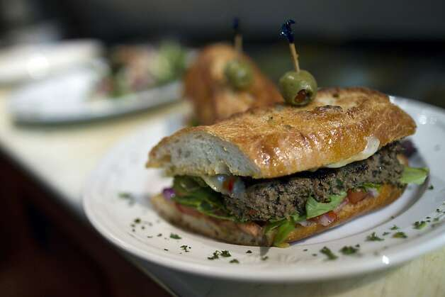A Kufta Kabab sandwich at Cafe Zitouna, a Moroccan and Tunisian restaurant on the corner of Sutter and Polk Streets in San Francisco, CA Thursday evening, October 20, 2011. Photo by Erin Lubin/Special to Chronicle Photo: Erin Lubin, Special To The Chronicle