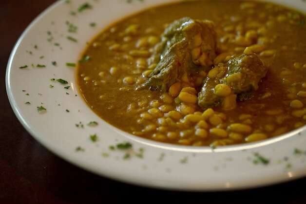 The Loubia Tajine, a lamb stew with white beans in a saffron sauce, at Cafe Zitouna on the corner of Sutter and Polk Streets  in San Francisco, CA Thursday evening, October 20, 2011. Photo by Erin Lubin/Special to Chronicle Photo: Erin Lubin, Special To The Chronicle