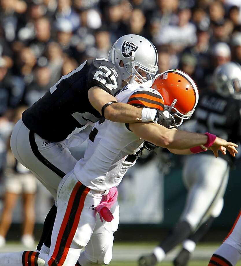 The Raiders Matt Giordano got to Cleveland quarterback Colt McCoy in the second half for a sack. The Oakland Raiders defeated the Cleveland Browns 24-17 at O.co Coliseum on Sunday October 16, 2011. Photo: Brant Ward, The Chronicle