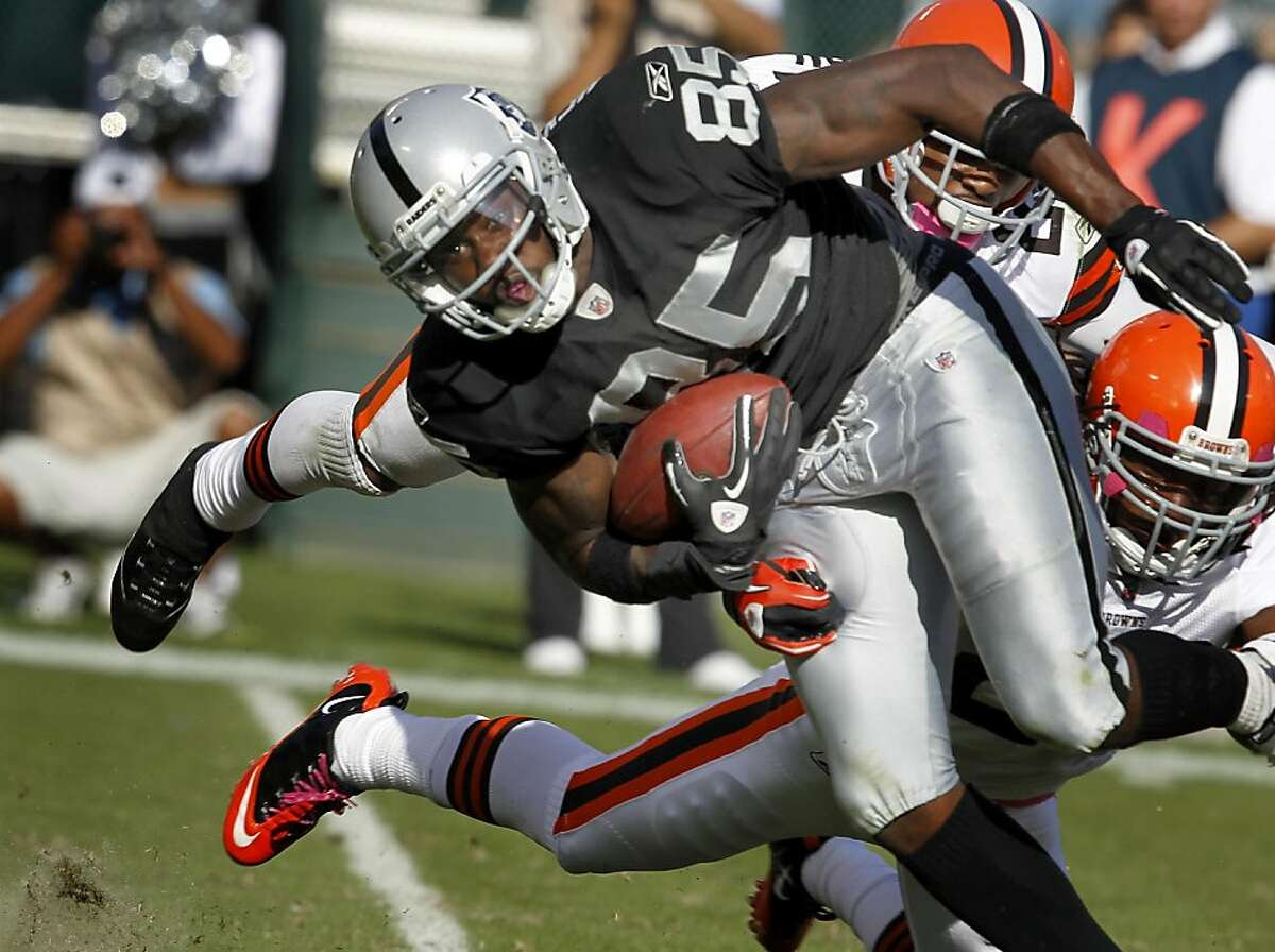 Darius Heyward-Bey made a nice gain in the second half. The Oakland Raiders defeated the Cleveland Browns 24-17 at O.co Coliseum on Sunday October 16, 2011.