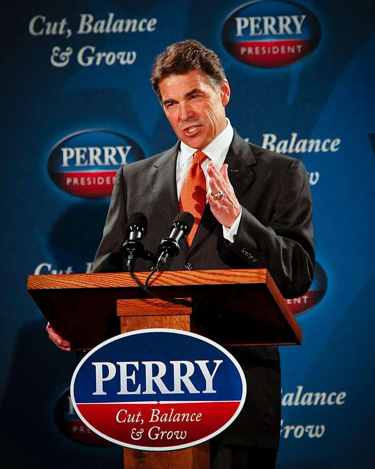 Republican presidential candidate Rick Perry was in Gray Court, South Carolina at ISO PolyFilms, Inc., where he released his economic plan, Tuesday, October 25, 2011. (Tim Dominick/The State/MCT) Photo: Tim Dominick, MCT
