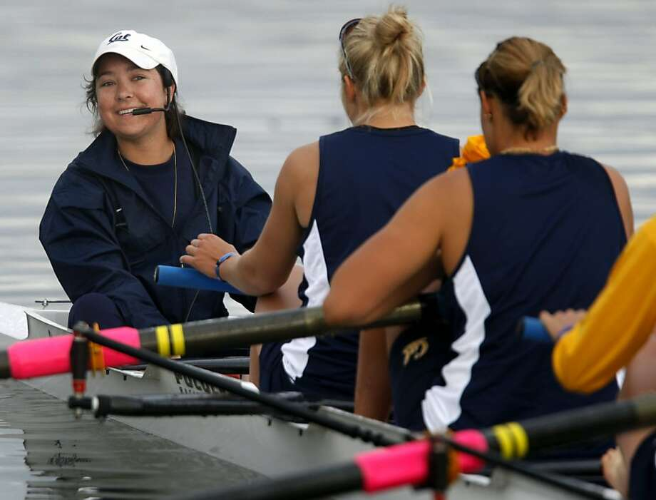 Cal's Jill Costello (left) prepares for this weekend's NCAA Rowing Championships with her crew on Lake Natoma in Gold River, Calif., on Thursday, May 27, 2010. Costello is coxswain on the Bears' top-ranked crew team even though she battles stage IV lung cancer.  Ran on: 06-25-2010 Jill Costello (left) helped guide Cal's varsity 8 to fourth at the NCAA finals, even though she was going through chemotherapy and radiation treatments. Photo: Paul Chinn, The Chronicle