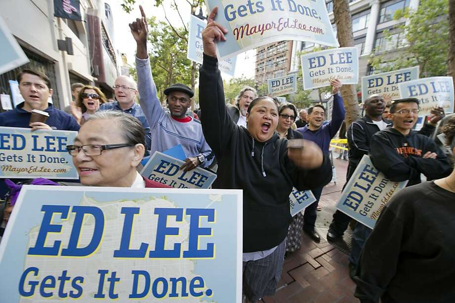 Supporters cheer as they listen to mayoral candidate Ed Lee as he speaks to supporters as he opens his campaign headquarters on Market Street on August 20, 2011 in San Francisco, Calif.  Photograph by David Paul Morris/Special to the Chronicle Photo: David Paul Morris, Special To The Chronicle