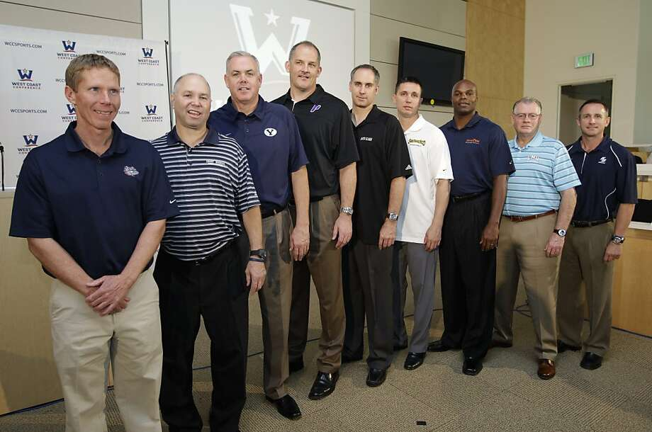 West Coast Conference NCAA college basketball head coaches, from left to right, Gonzaga's Mark Few, Saint Mary's  Randy Bennett, BYU's Dave Rose, Portland's Eric Reveno, Santa Clara's Kerry Keating, San Francisco's Rex Walters, Pepperdine's Marty Wilson, Loyola Marymount's Max Good, and San Diego's Bill Grier pose during a WCC Basketball Tip-Off event at YouTube headquarters in San Bruno, Calif., Thursday, Oct. 27, 2011. (AP Photo/Paul Sakuma) Photo: Paul Sakuma, AP