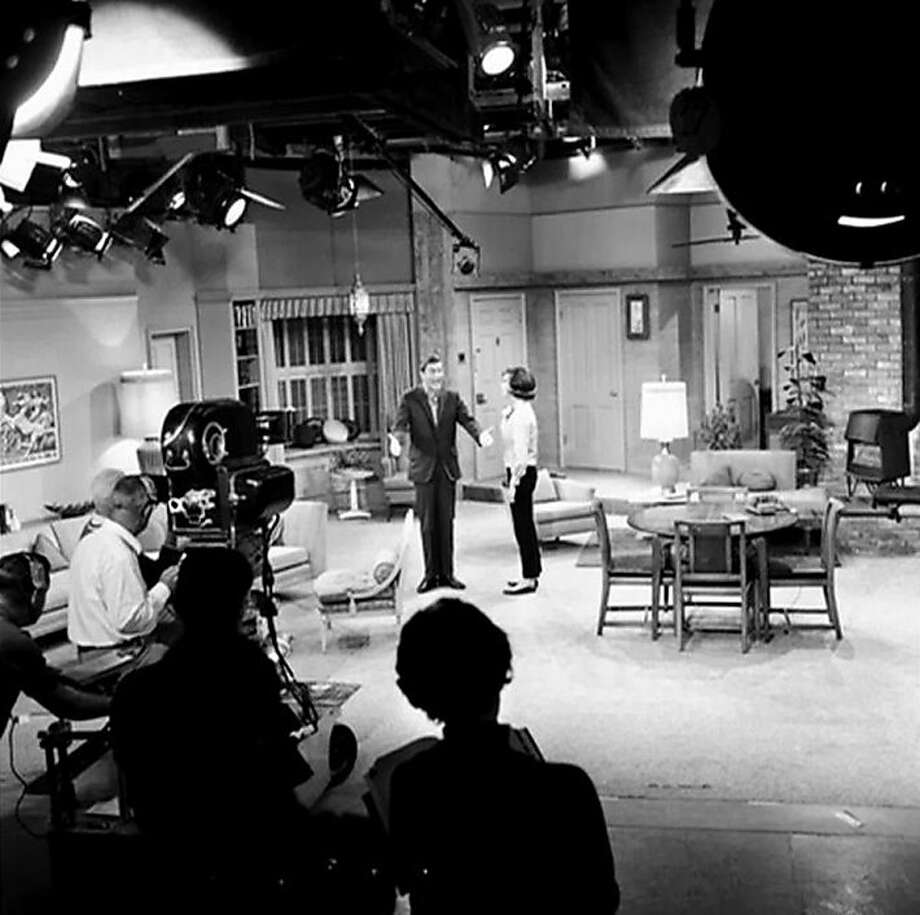 "Co-stars Dick Van Dyke and Mary Tyler Moore on the set of the iconic television series ""The Dick Van Dyke Show,"" featured in AMERICA IN PRIMETIME. Photo: Courtesy Of The Walnut Times Arc"