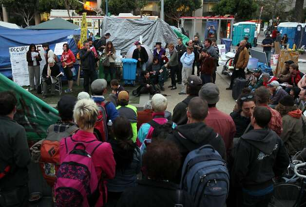 Residents at Occupy San Francisco in Justin Herman Park held a general assembly meeting Thursday night Oct 27, 2011. Photo: Lance Iversen, The Chronicle