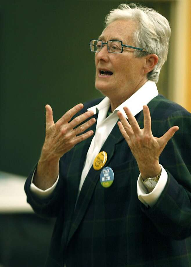 Green Party member, Terry Joan Baum who is a candidate for the office of Mayor speaks to the OMI Neighbors in Action group representing the Ocean view-Merced-and Ingleside districts at Temple United Methodist Thursday, Sept. 29, 2011. Photo: Lance Iversen, The Chronicle