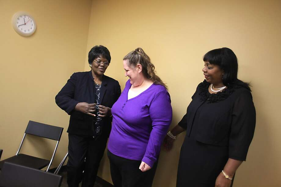 Plaintiffs in the class action suit Dukes vs Wal-Mart, Betty Dukes, Patricia Surgeson and Edith Arana talk after a press conference at the Equal Rights Advocates office on Thursday, October 27, 2011 in San Francisco, Calif. After the U.S. Supreme Court denied a national class action suit against Wal-Mart for discrimination against female employees, attorneys for plaintiffs filed a new class action suit in U.S. District Court, Northern District of California.  The suit seeks to end what is alleged as discriminatory practices in the pay and promotion of female employees of Wal-Mart in its California Regions. Photo: Lea Suzuki, The Chronicle