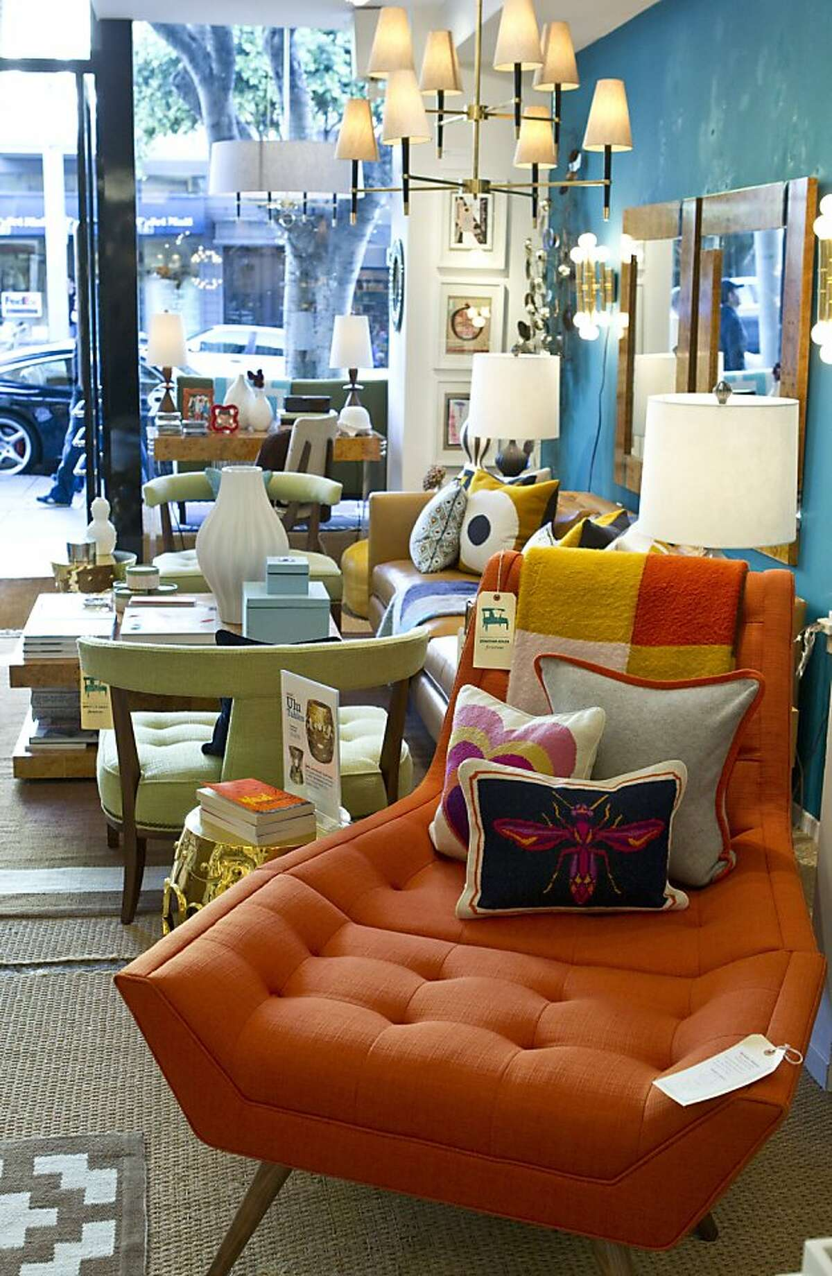 Colorful furnishings sit on display at the Jonathan Adler store, located at 2133 Fillmore Street in San Francisco, Calif., on Thursday, October 6, 2011.