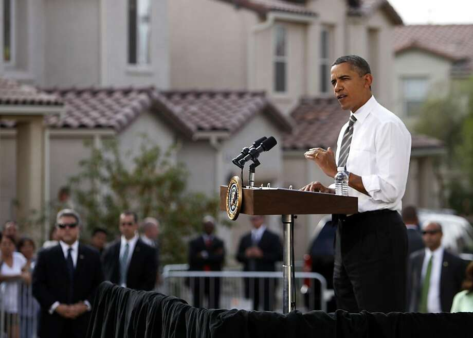 President Barack Obama speaks in Las Vegas, Monday, Oct. 24, 2011. Obama, in Las Vegas during a three-day trip to the West Coast, announced new rules to help homeowners with little or no equity in their home to refinance their mortgages to avoid foreclosures. (AP Photo/John Locher)  Ran on: 10-26-2011 President Obama announced refinancing plan in Las Vegas. Photo: John Locher, AP