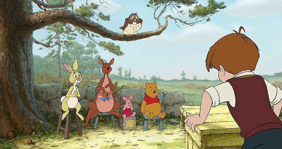 """Winnie the Pooh and his pals go on new adventures in the 2011 """"Winnie the Pooh."""" """"WINNIE THE POOH""""   Left to right: Rabbit, Kanga, Roo, Piglet, Owl, Winnie the Pooh, Christopher Robin    ©Disney Enterprises, Inc. All rights reserved.  Ran on: 07-10-2011 The honey-obsessed bear and his pals find new adventures in &quo;Winnie the Pooh,&quo; opening Friday. Photo: Disney"""