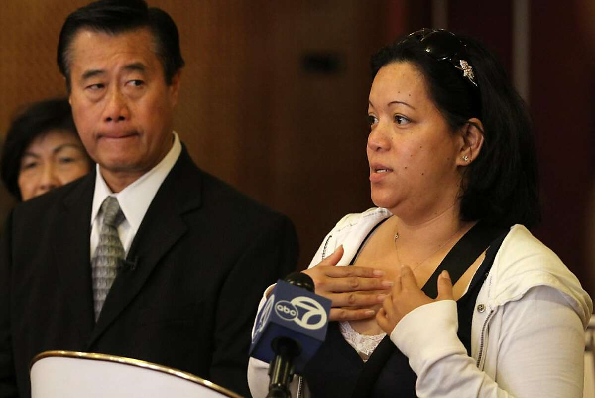 With San Francisco mayoral candidate State Sen. Leland Yee, D-San Franicsco beside her, purported eyewitness Linda Dudley talks about alleged voting fraud by acting San Francisco Mayor and mayoral candidate Ed Lee during a new conference on Monday, Oct. 24, 2001, in San Francisco, Calif.