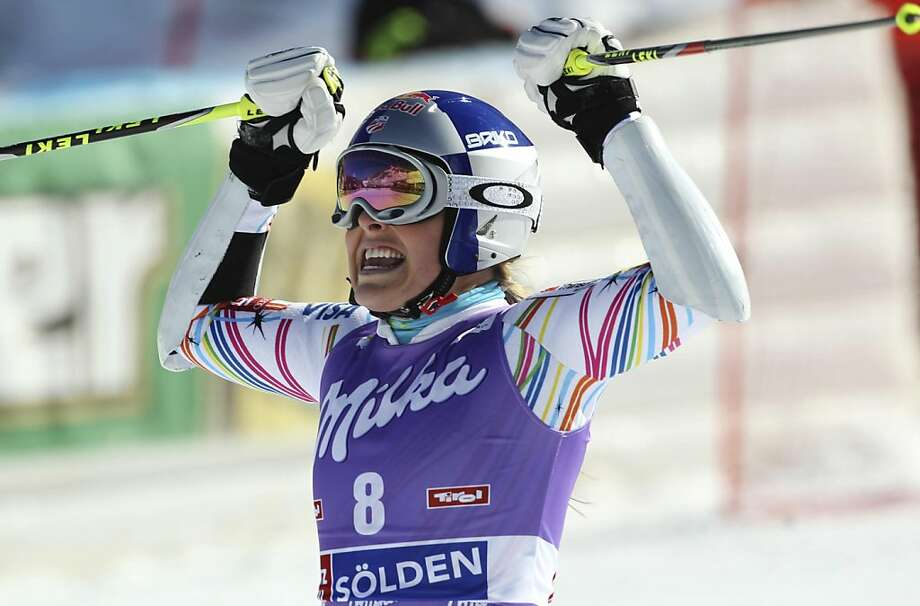 United States' Lindsey Vonn celebrates after winning an alpine ski, women's giant slalom in Soelden, Austria, Saturday, Oct. 22, 2011. (AP Photo/Alessandro Trovati)   Ran on: 10-23-2011 Lindsey Vonn won the season-opening World Cup giant slalom in Austria. Ran on: 10-23-2011 American Lindsey Vonn won the season-opening World Cup giant slalom in Austria. Photo: Alessansdro Trovati, AP