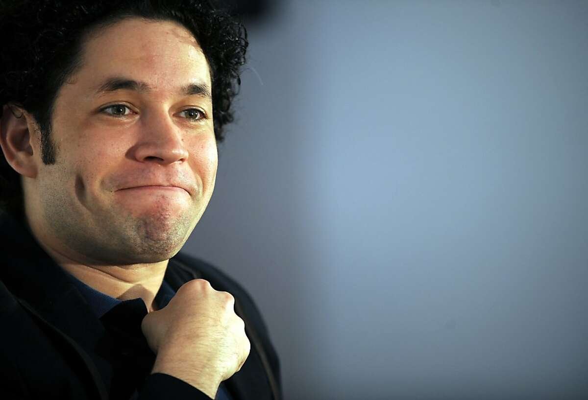 The new Music Director of the Los Angeles Philharmonic, Gustavo Dudamel from Venezuela, holds a press conference in Los Angeles, California, on September 30, 2009. The LA Philharmonic will welcome Dudamel in his inaugural gala celebration at the Walt Disney Concert Hall next October 8. AFP PHOTO / GABRIEL BOUYS (Photo credit should read GABRIEL BOUYS/AFP/Getty Images) Ran on: 10-10-2009 Gustavo Dudamel led the Los Angeles Philharmon-ic in Mahler's First.