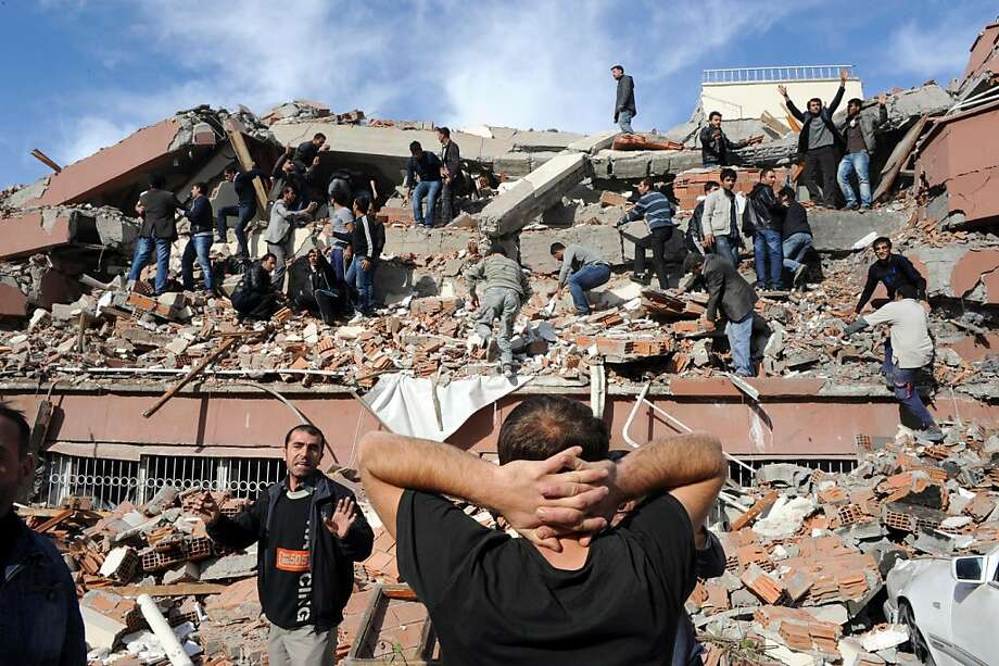 TOPSHOTS -TURKEY OUT- Photo taken on October 23, 2011 shows an aerial view of the quake-hit Tabanli village in the eastern province of Van. A major earthquake collapsed several buildings in eastern Turkey, trapping an unknown number citizens under debris in Van Province. AFP PHOTO/ANATOLIA NEWS AGENCY/ABDURRAHMAN ANTAKYALI (Photo credit should read ABDURRAHMAN ANTAKYALI/AFP/Getty Images) Photo: Abdurrahman Antakyali, AFP/Getty Images