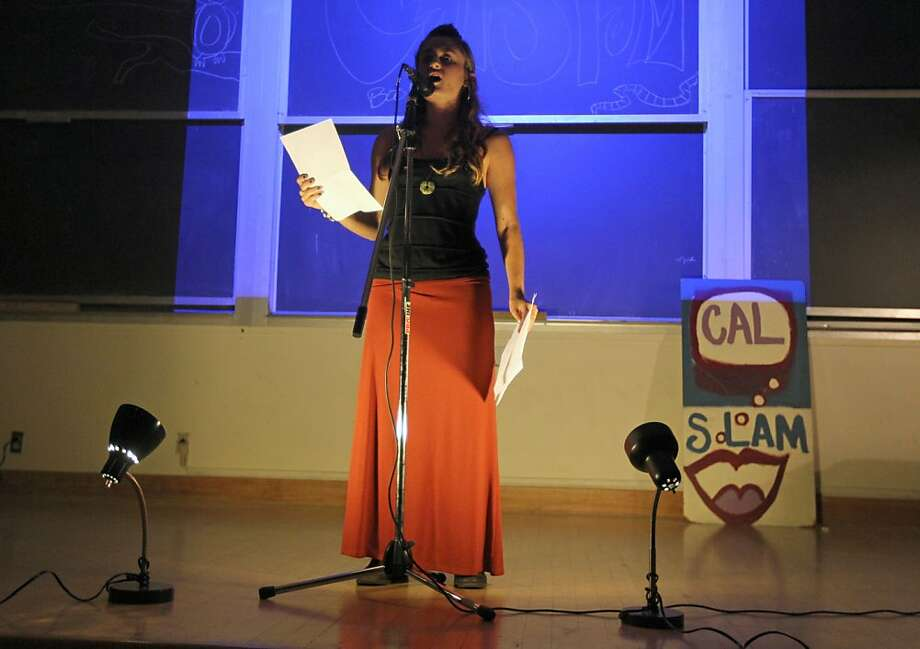 Sophie Needleman took part in the annual Cal Slam poetry contest Thursday October 20, 2011. The winner will represent UC Berkeley at the 2012 College Unions Poetry Slam Invitation (CUPSI) and compete against thirty-five plus Universities across the nation. Photo: Lance Iversen, The Chronicle