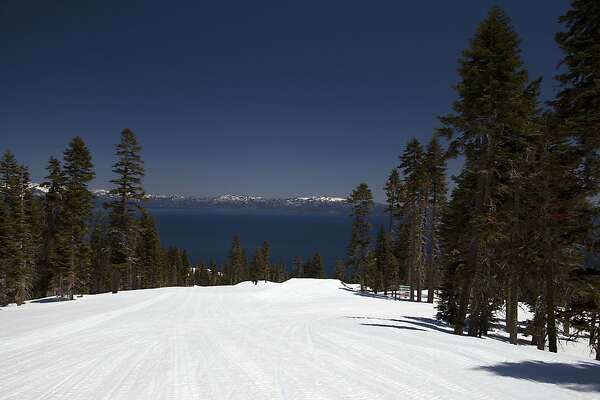 The view of Lake Tahoe from Rainbow Ridge ski run of Homewood Mountain Resort on May 4 2011 in Homewood, Calif.  Photograph by David Paul Morris/Special to the Chronicle