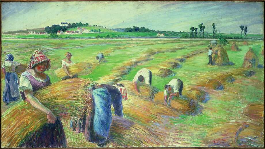 """The Harvest"" (1882) Tempera on canvas by Camille Pissarro    27 11/16 x 49 9/16 in. (70.3 x 126 cm) Photo: Unknown, Fine Arts Museums Of S.f."