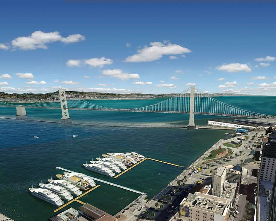 Faced with concerns about the long-term loss of bay views, San Francisco officials and the America's Cup Event Authority have revised their plans for the 2013 regatta to preserve open water along Rincon Park, south of the Ferry Building Photo: Aecom, AECOM