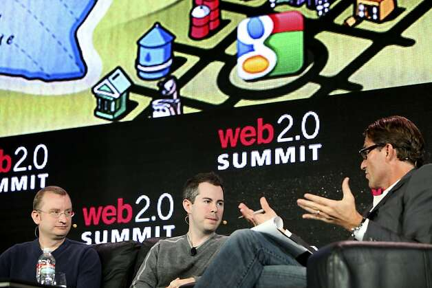 Grahman Spencer, left and Bill Maris of Google Ventures is interviewed by John Battelle,  Tuesday October 18, 2011,  in front of a crowd at the Web2.0 Summit in San Francisco, Calif. Photo: Lacy Atkins, The Chronicle