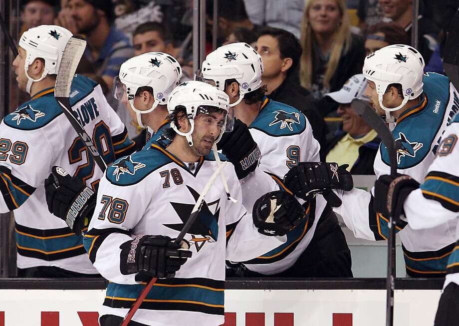 BOSTON, MA - OCTOBER 22:  Benn Ferriero #78 of the San Jose Sharks is congratulated after scoring the game winning goal in the third period against the Boston Bruins on October 22, 2011 at TD Garden in Boston, Massachusetts. The San Jose Sharks defeated the Boston Bruins 4-2.  (Photo by Elsa/Getty Images) Photo: Elsa, Getty Images