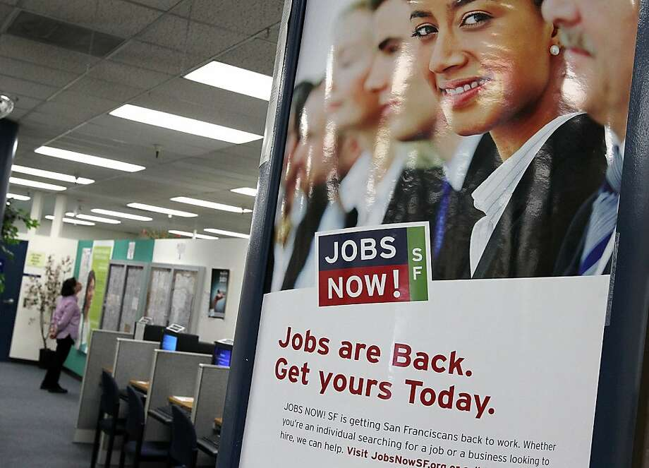"SAN FRANCISCO, CA - JULY 08:  A poster advertising San Francisco's ""Jobs Now"" program is displayed at the Career Link Center One Stop job center on July 8, 2011 in San Francisco, California. The national unemployment rate inched up to 9.2 percent with only 18,000 jobs were created in June.  (Photo by Justin Sullivan/Getty Images)  Ran on: 07-09-2011 A poster touting San Francisco's Jobs Now program hangs at the Career Link Center on a day that saw the national unemployment rate rise, with just 18,000 people added to payrolls. Photo: Justin Sullivan, Getty Images"