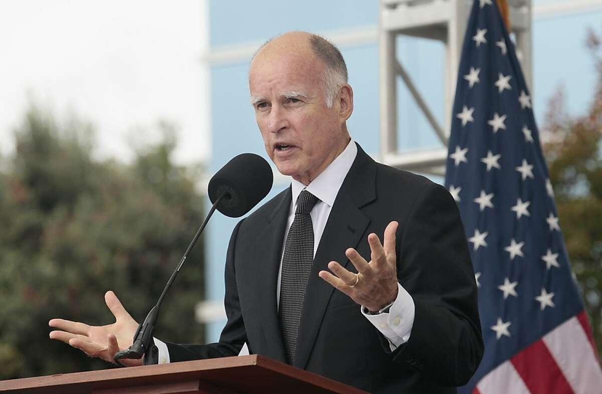 Gov. Jerry Brown speaks at SunEdison in Belmont, Calif., Monday, Oct. 10, 2011. (AP Photo/Jeff Chiu)