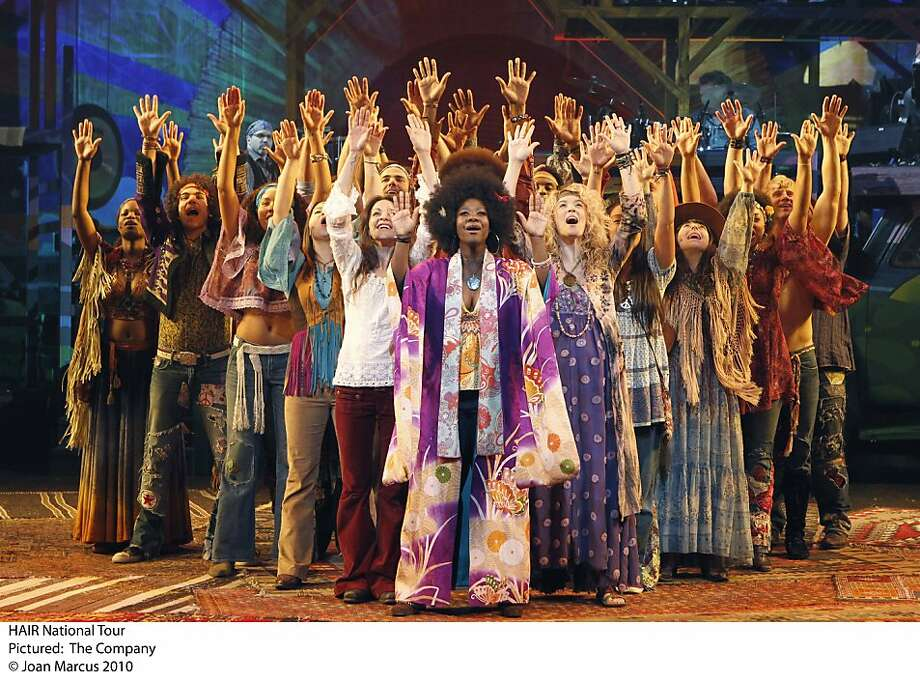 "The national touring company of ""Hair,"" laying Oct. 25-Nov. 20 at the Golden Gate Theatre in San Francisco. Hair Tour  Ran on: 10-23-2011 The national touring company of the revival of &quo;Hair,&quo; directed by Diane Paulus, left. Photo: Joan Marcus 2010"