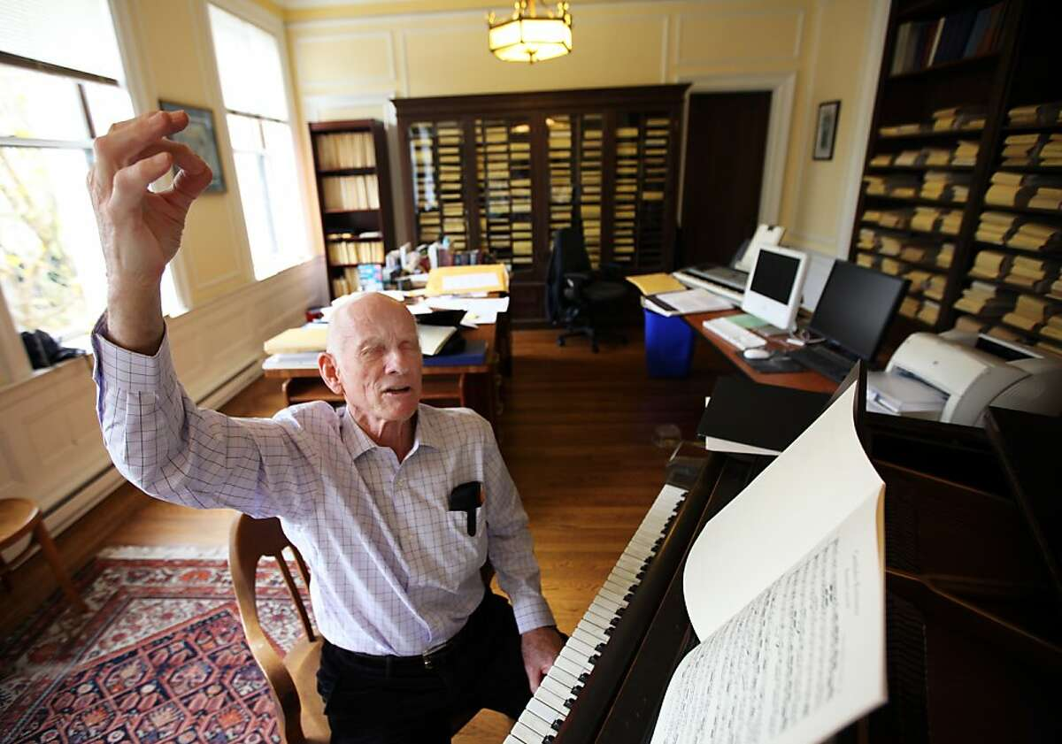 Alden Gilchrist, in his study among shelves of choir music booklets, is coming up on his 60th year as the director of music at Calvary Presbyterian Church in San Francisco, Calif. Oct. 20, 2011.