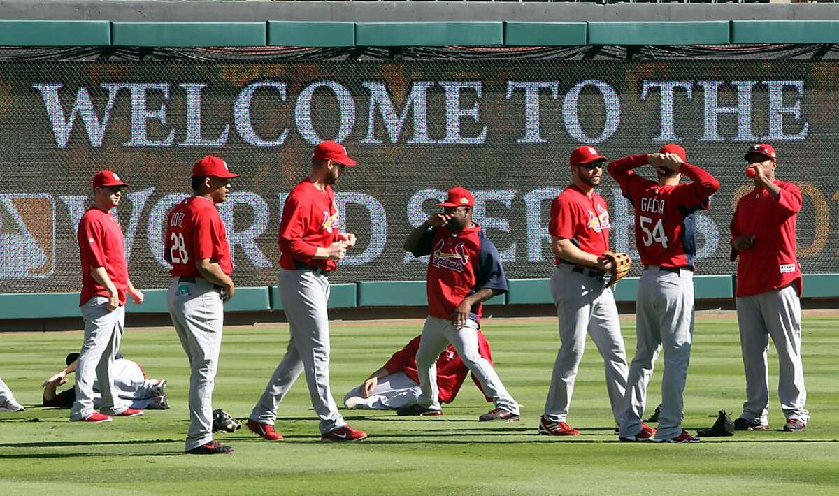 The St. Louis Cardinals get ready to work out at the Rangers Ballpark in Arlington on Friday October 21, 2011, in Arlington, Texas. The Texas Rangers play host to the Cardinals in Game 3 of the World Series on Saturday with the series tied, 1-1. (Richard W. Rodriguez/Fort Worth Star-Telegram/MCT)
