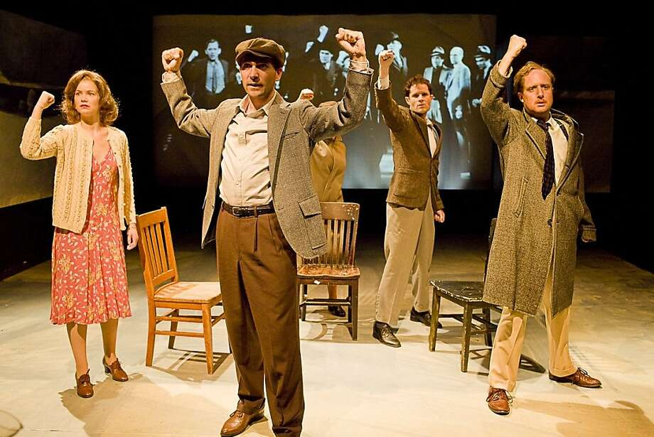 "Members of the Group Theatre, Phoebe Brand (Melissa Quine, left), Elia Kazan (Galen Murphy-Hoff), Lee Strasberg (David Mendelsohn) and Morris Carnovsky (Cassidy Brown) in the premiere of ""Waiting for Lefty"" in Corey Fischer's ""In the Maze of Our Own Lives"" at The Jewish Theater San Francisco Photo: Ken Friedman"
