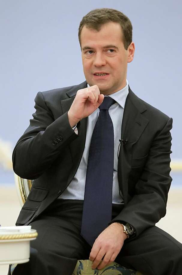 Russian President Dmitry Medvedev speaks at a meeting with his supporters in the Gorki residence outside Moscow,  Russia, Wednesday, Oct. 19, 2011. (AP Photo/Sergei Chirikov, Pool) Photo: Sergei Chirikov, AP