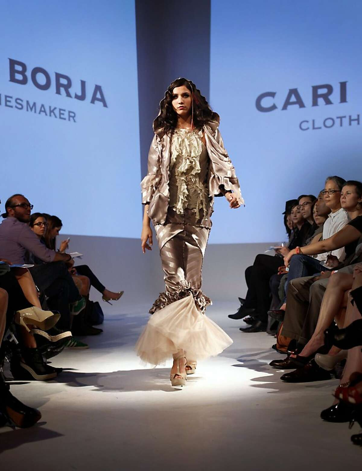 Cari Borja's new collection is shown in a group runway fashion show in San Francisco, Calif., Thursday, September 29, 2011. Her collection is inspired by her time as an intern at Chez Panisse.