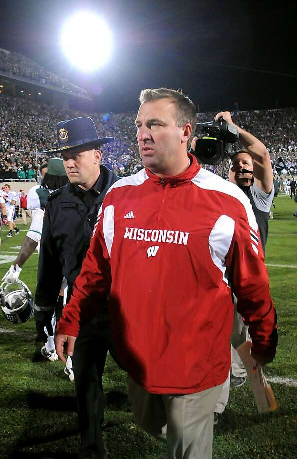 EAST LANSING, MI - OCTOBER 22:  Head coach Bret Bielema of the Wisconsin Badgers walks off the field after his team was defeated by the Michigan State Spartans on the final play of the game at Spartan Stadium on October 22, 2011 in East Lansing, Michigan. The Spartans defeated the Badgers 37-31.  (Photo by Mark Cunningham/Getty Images) Photo: Mark Cunningham, Getty Images
