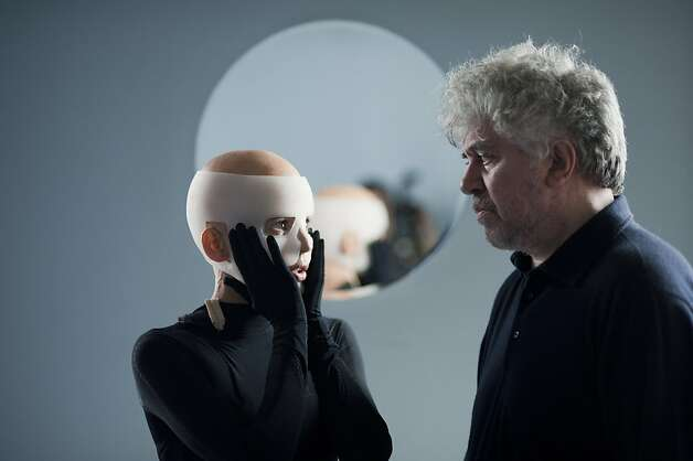 "Elena Anaya, left, and director Pedro Almodovar on set of Sony Pictures' ""The Skin I Live In."" (Jose Haro/El Deseo/Courtesy of Sony Pictures Classics/MCT) Photo: Handout, MCT"