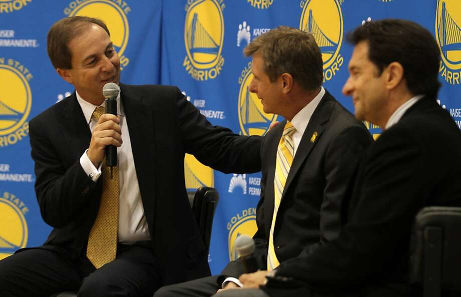 Warriors Co-Managing Partners, Joe Lacob (L) & Peter Guber (R), flank the Warriors new President and COO Rick Welts during a news conference at the Warriors practice facility in Oakland, Calif. Photo: Mathew Sumner, Special To The Chronicle