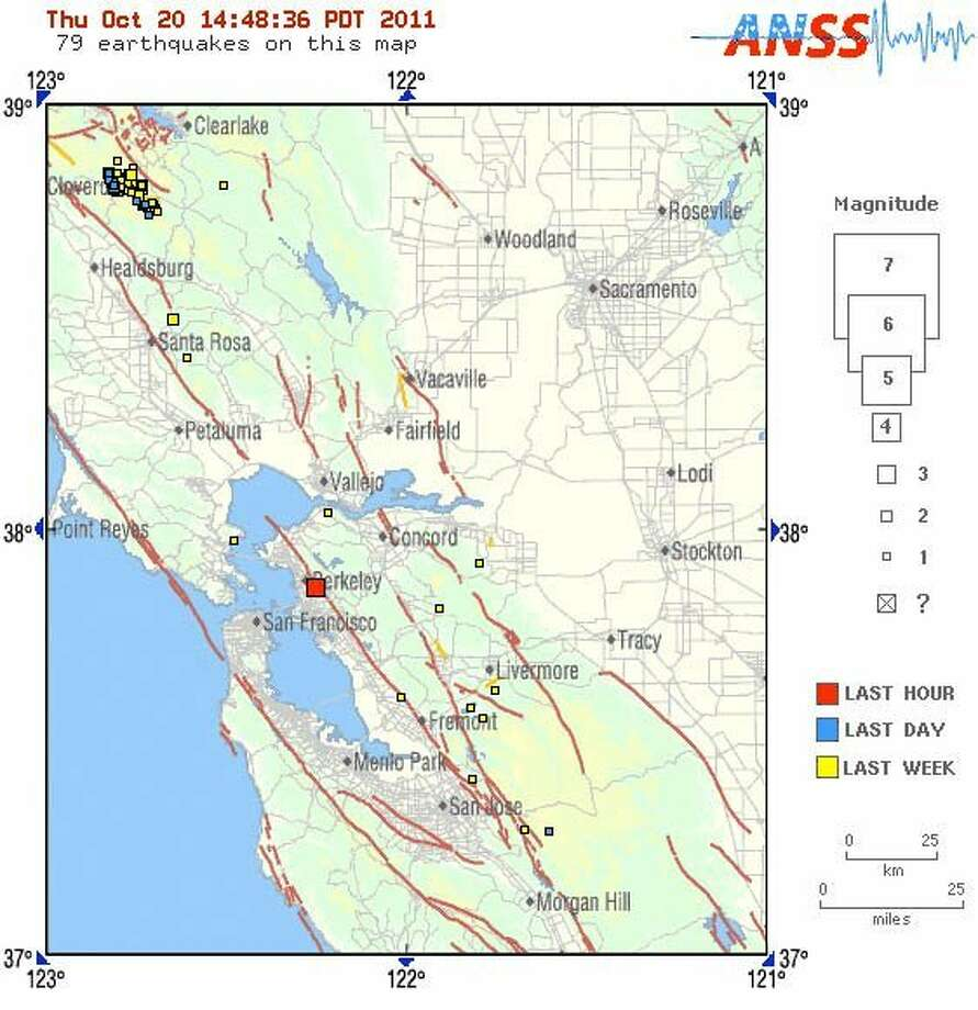 The 3.9 magnitude earthquake was centered in Berkeley. Photo: Usgs