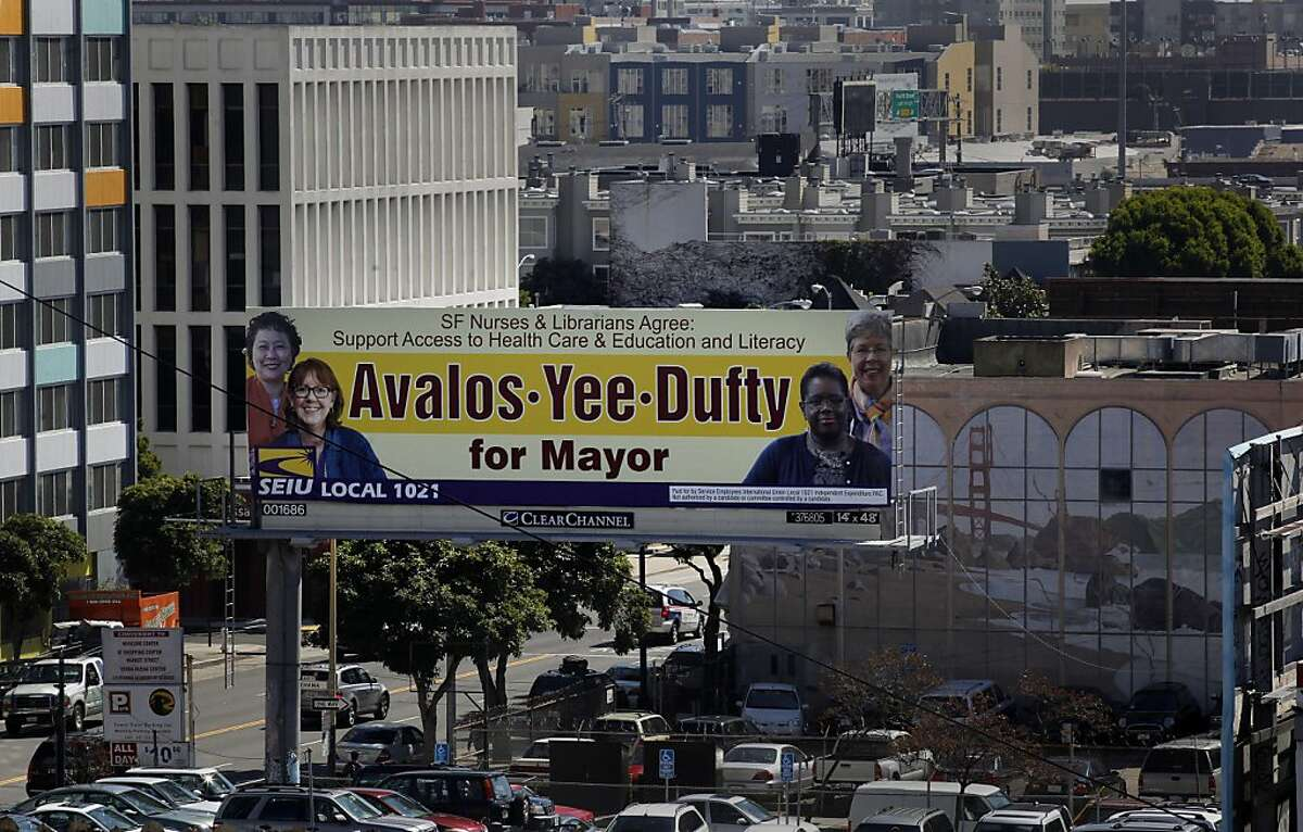 A billboard near the corner of 5th and Howard streets, on Friday October 7, 2011, in San Francisco, Ca. , shows how SEIU has endorsed three people for mayor, which shows what you can do in ranked choice.