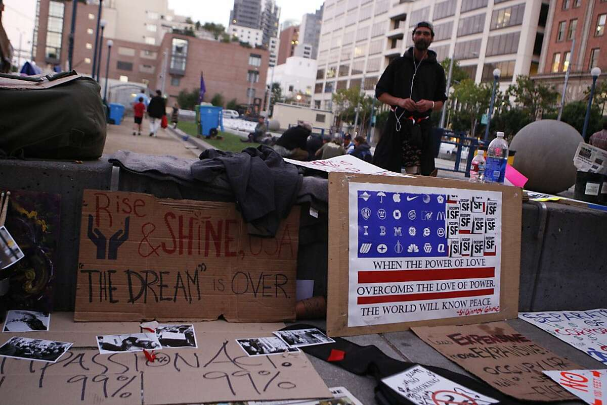 The Occupy SF encampment at Justin Hermann Plaza is littered with signs and propaganda, in San Francisco, Calif., on Monday, Oct. 17, 2011.