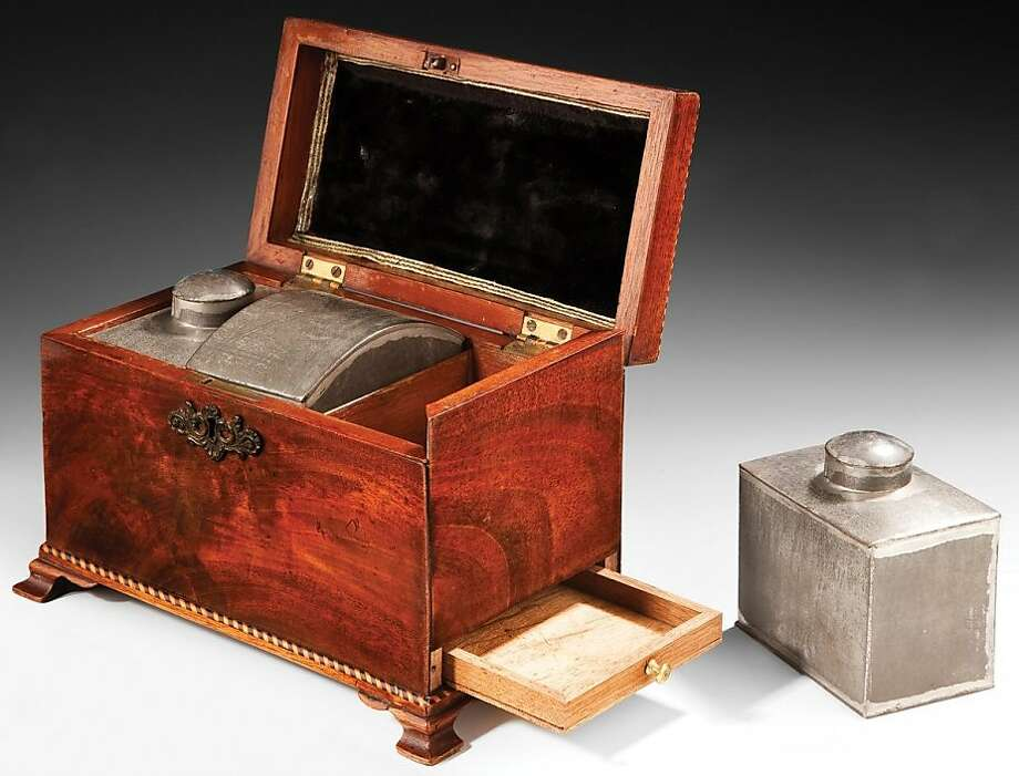 Tea Caddy with Canisters, English, circa 1760, Cuban mahogany, with tin. Photo: William Cook Antiques