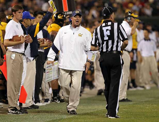 California Golden Bears head coach Jeff Jeff Tedford walks to a ref after California was called for pass interferance late into the fourth quarter during their game with the USC Trojans at AT&T Park on October 13, 2011 in San Francisco, California. USC won 30-9. Photo: Lance Iversen, The Chronicle