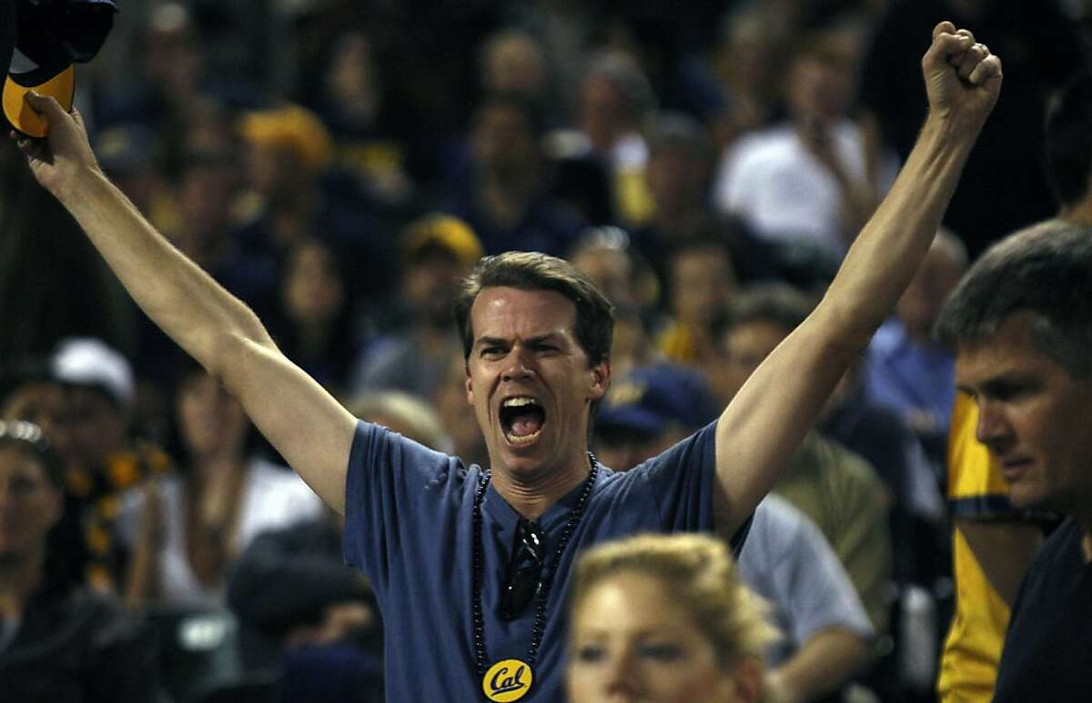 A California fan tries to pump up the team as they exit the field at half time during their game with USC Trojans at AT&T Park on October 13, 2011 in San Francisco, California.